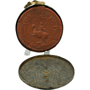 Large 1700's Antwerp wax seal original tin holder