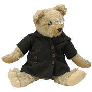 "Early white 21""  Teddy Bear in glasses and coat"