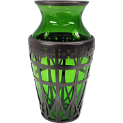 """American Arts & Crafts pewter overlay green glass vase 10"""" Derby Silver Company"""