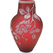 """Antique English carved cameo glass vase 6 3/4"""" cranberry & white"""