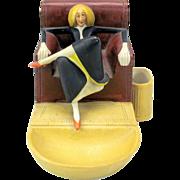 Vintage Schafer Vater German bisque match striker-elongated woman in armchair