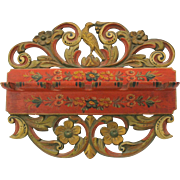 Fabulous 19th Century paint decorated carved wood spoon rack holder-bird & florals