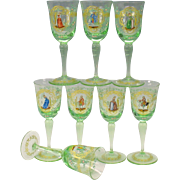 Set 8 vintage Venetian glass enamel decorated wine glasses stems