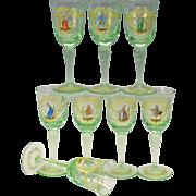 Set 8 vintage Venetian glass enamel decorated wine glasses stems
