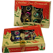 2 boxes vintage miniature glass indent Christmas ornaments for a dolls feather tree