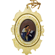 Early miniature reverse painted glass portrait of a King praying in marble frame