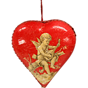 Antique German heart shaped lithographed paper candy container Christmas ornament 3""