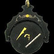 Rare 19th Century damascene Masonic optical flicker fob or pendant optical toy