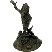 Victorian bronze figure of a Frog in shorts singing