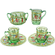 6 piece set enameled Venetian glass-2 cups, saucers, creamer & sugar