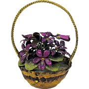 Antique cold painted Vienna bronze miniature basket of flowers perfect for a doll