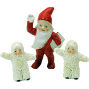 3 Antique German cake decorations Gnome and 2 snow babies