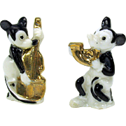 2 Early German MICKEY MOUSE playing instruments porcelain figures cake decoration