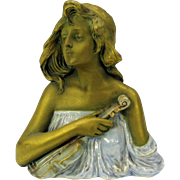 Ernst Wahliss Teplitz Art Nouveau porcelain bust Lady with Violin