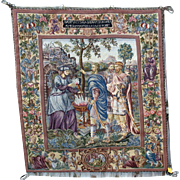 "Large vintage hanging needlework tapestry Roman scene 39"" by 44"" petit point faces"