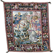 "Large vintage hanging needlework tapestry Roman & horse scene 39"" by 44"" petit point faces"