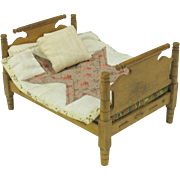 Vintage maple wood doll house miniature bed with bedding
