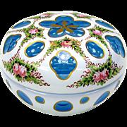 Vintage aqua blue Bohemian overlay glass decorated powder jar or lidded dresser box