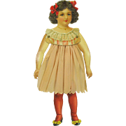Victorian paper doll Christmas decoration crepe dress with moveable arms/legs brunette