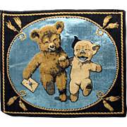 Rare early BONZO and Roosevelt BEAR Belgian velvet tapestry wall hanging 1920's