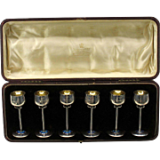 6 Mappin & Webb Art Nouveau sterling silver & enamel cordial glasses original box