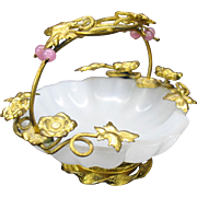 Grand Tour Palais Royale miniature ormolu and opaline glass basket