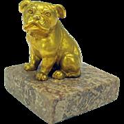 Vintage gilded bronze figure of a Bulldog puppy