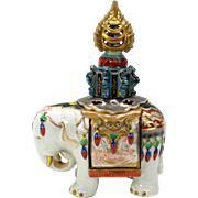 Lavish early German porcelain Elephant perfume lamp Art Deco