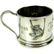 1908 silverplate child's mug-Teddy bears on swings
