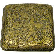 Fine Japanese damascene cigarette case with Peacock