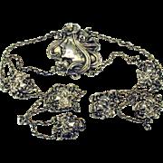 """Art Nouveau American sterling silver belt 25"""""""