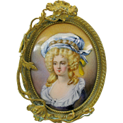 Antique French enamel Ladies portrait in gilt bronze Art Nouveau frame