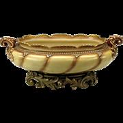 """Huge antique Royal Worcester porcelain tabletop planter 18"""" long 1880's"""