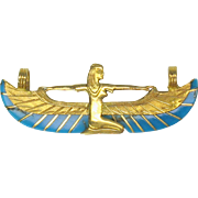 18k gold and turquiose Egyptian ISIS pendant
