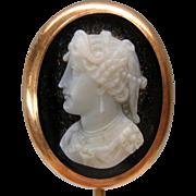Fine 14k Victorian hardstone cameo stickpin of a Goddess
