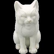 "Antique Japanese white bisque seated cat figure 5"""