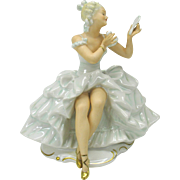 Vintage Schaubach Kunst German porcelain figure Lady with powder puff