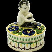 Figural Art Deco Royal Copenhagen FAUN powder box jar artist signed