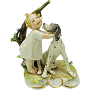 Vintage Capodimonte artist signed fine porcelain figure girl with dog