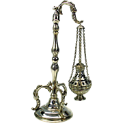 Early coin silver miniature censer on elaborate stand