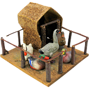 Antique all bisque doll display DUCK HOUSE