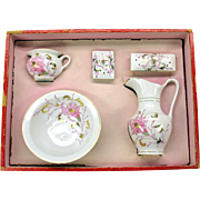 Antique dolls porcelain decorated wash basin set in original box