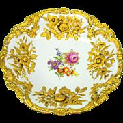 Large antique Meissen porcelain raised gold & decorated charger dish