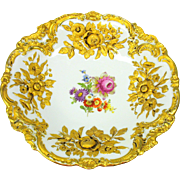 Large antique Meissen porcelain raised gold & decorated charger dish