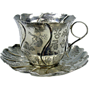 Antique Chinese silver cup and saucer signed & with Calligraphy Lotus shaped