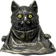 Antique JB plated metal CAT with glass eyes and bib inkwell