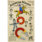 Vintage 1925 American Magnet tin toy on original card