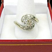 Vintage Estate 14k white gold off set diamond ring-large clean center stone
