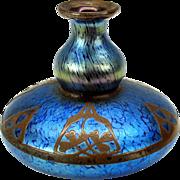 Blue Loetz glass vase with copper overlay design with 3 leaf clover