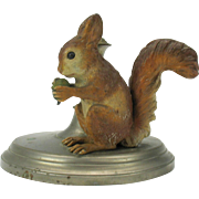 Large cold painted Vienna bronze SQUIRREL mounted on candlestick base